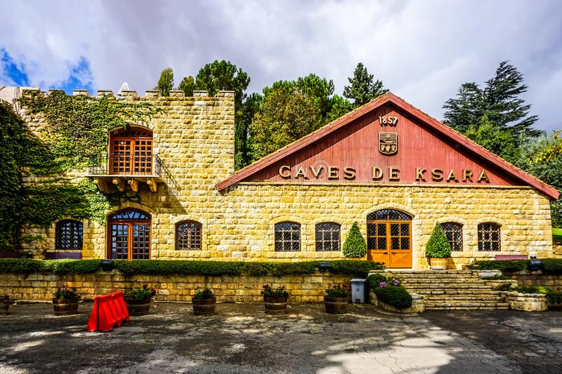 Zahle Caves De Ksara. Zahle Awesome Appealing Chateau Caves De Ksara Famous Winery Frontal View stock images