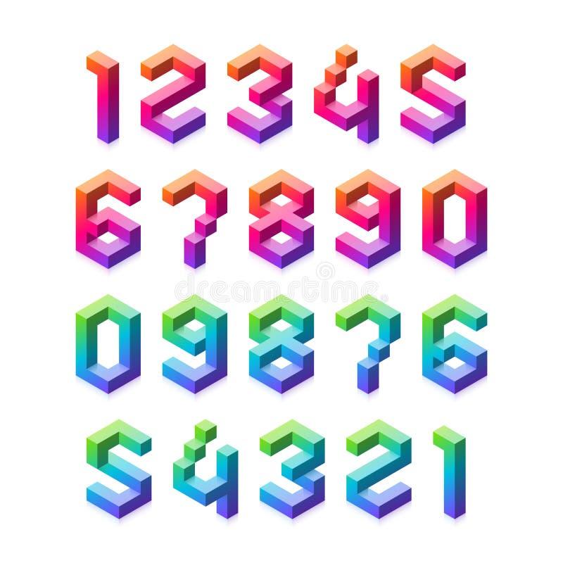 Zahlen 3D eingestellt lizenzfreie abbildung