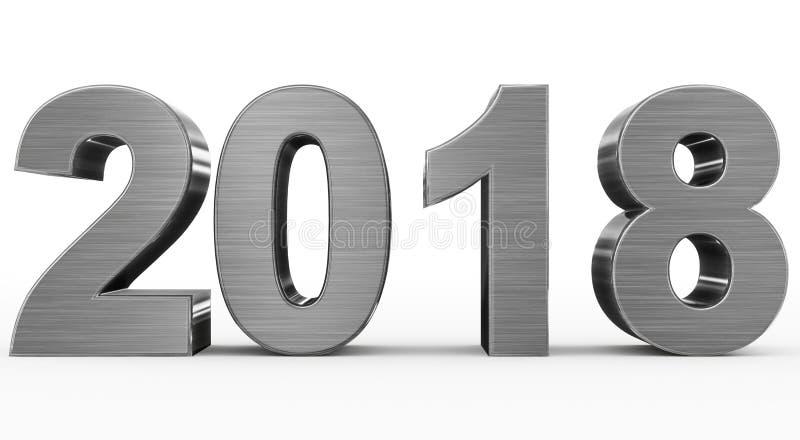 Zahlen des Metalls 3d des Jahres 2018 lokalisiert auf Weiß vektor abbildung