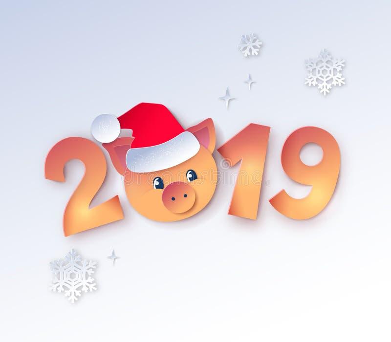 Zahlen des neuen Jahres mit nettem piggy lizenzfreie abbildung