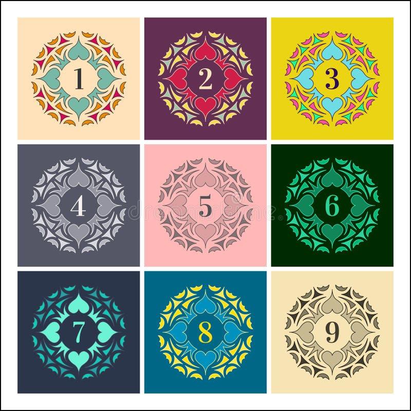 Zahlen eingestellt Bunte Rahmen in der linearen Art Mandalasammlung stock abbildung