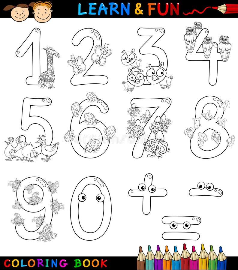 Zahlen mit Karikaturtieren für Farbton lizenzfreie abbildung