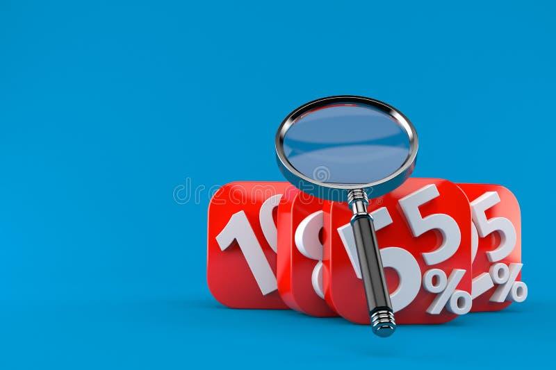 Zahlen mit Prozentsymbolen und -lupe stock abbildung