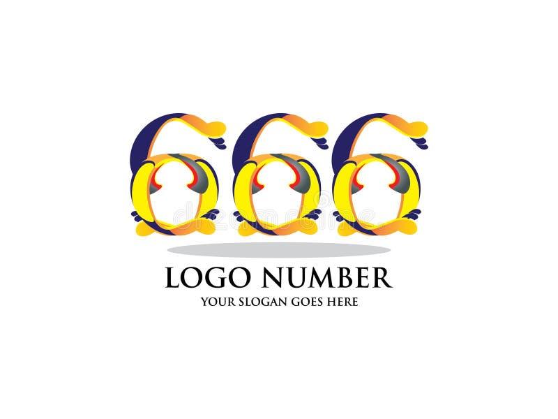 Zahlen sechs hundert und sechsundsechzig mit Aquarell Farbüberlagerungsart Vector Schriftbild für Aufkleber, Schlagzeilen, Poster lizenzfreie abbildung