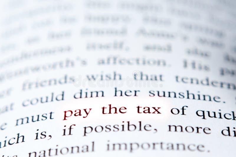 Zahlen Sie das Steuerkonzept stockbild
