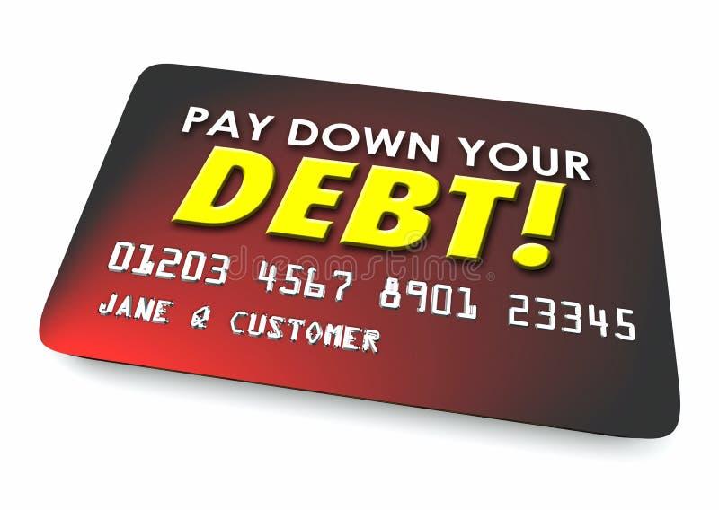 Zahlen Sie hinunter Ihre Illustration des Debet-Kreditkarte-Budget-3d lizenzfreie abbildung