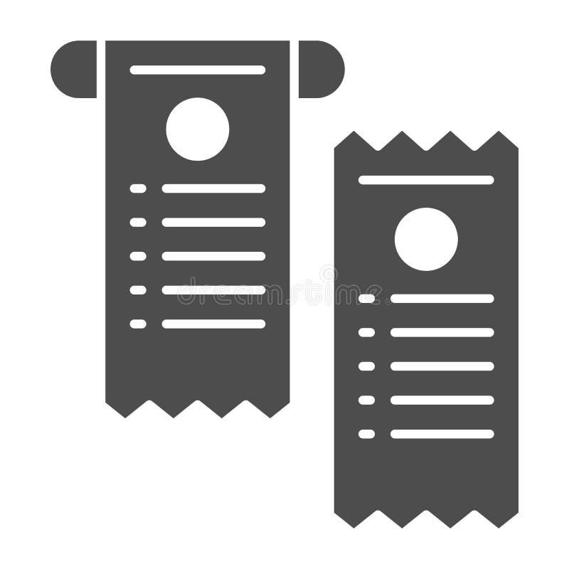 Zahlen Sie Kontrolle feste Ikone Papierkontrollvektorillustration lokalisiert auf Weiß Scheck Glyph-Artentwurf, bestimmt für Netz vektor abbildung