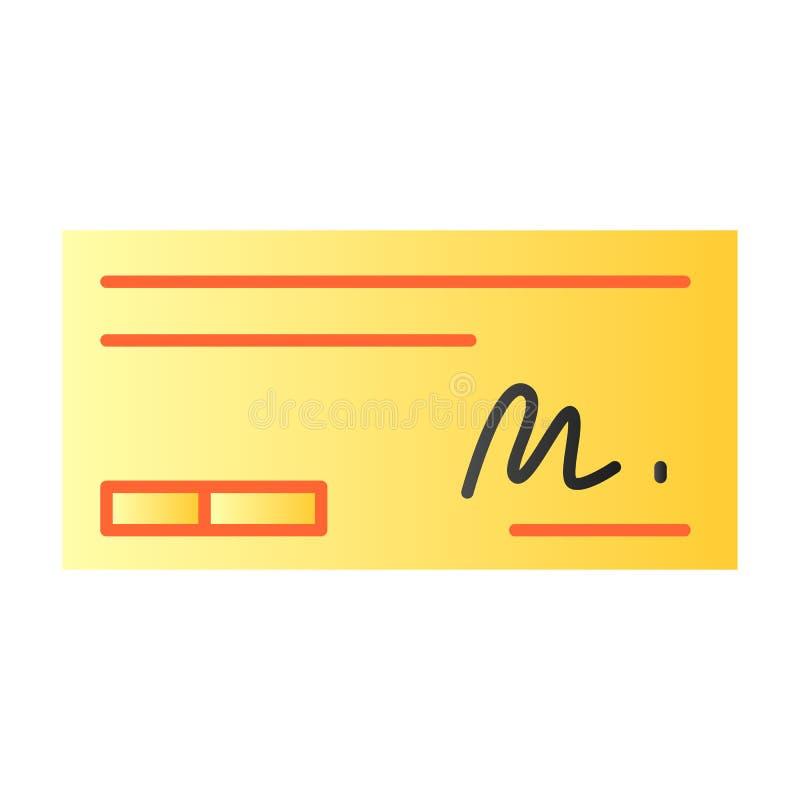 Zahlen Sie Scheck flache Ikone Zeichen auf Scheckfarbikonen in der modischen flachen Art Bankscheck-Steigungsartentwurf, entworfe vektor abbildung