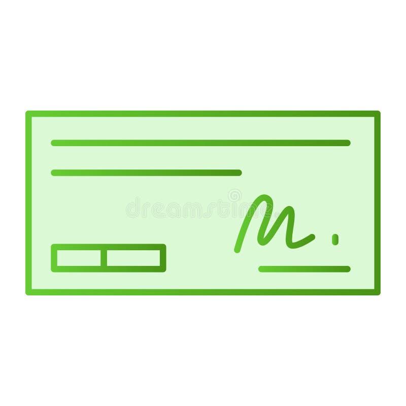 Zahlen Sie Scheck flache Ikone Zeichen auf Scheckgrünikonen in der modischen flachen Art Bankscheck-Steigungsartentwurf, entworfe vektor abbildung