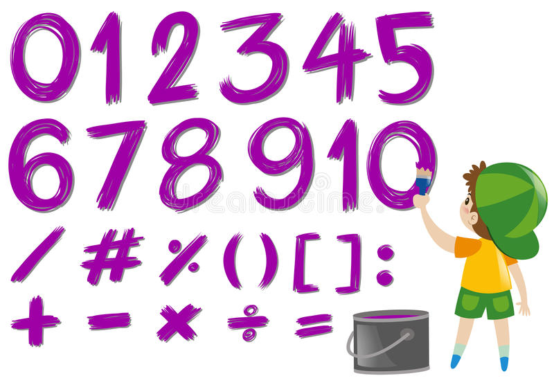 Zahlen Und Mathe Unterzeichnet Herein Purpurrote Farbe Vektor ...