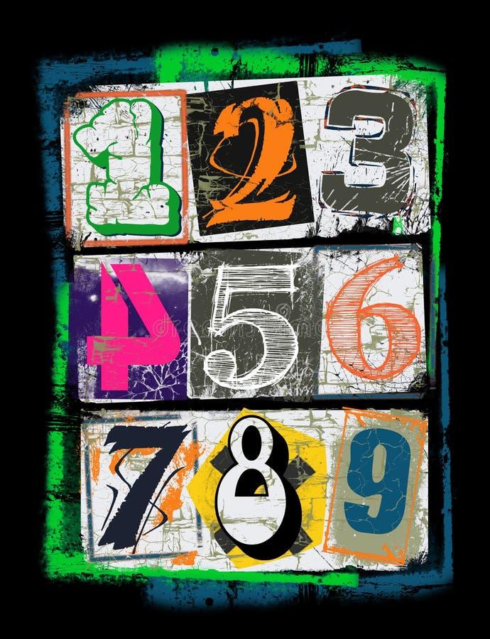 Zahlen von verschiedenen Farben, T-Shirt Grafik vektor abbildung