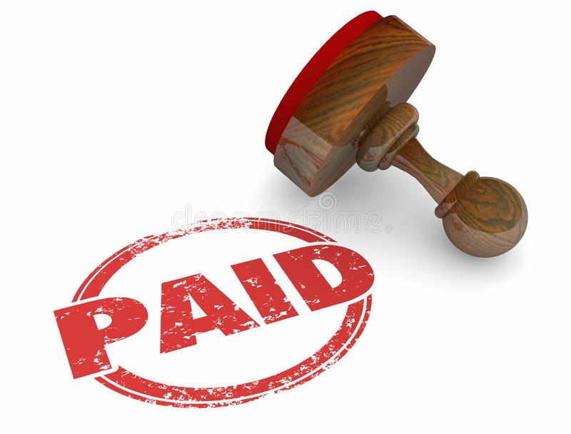 Zahlender Kranke Wort-Stempel-Bill Invoice Payment Accounting Processeds 3d stock abbildung