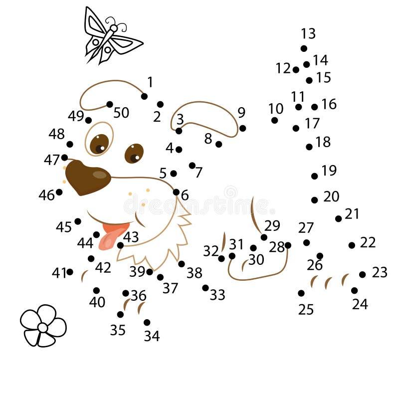 Zahlenspiel für Kinder Punkt, zum des pädagogischen Kinderspiels zu punktieren lizenzfreies stockfoto
