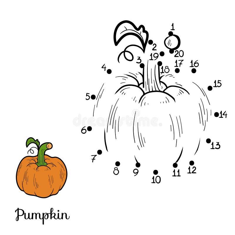 Zahlenspiel: Obst und Gemüse (Kürbis) lizenzfreie abbildung