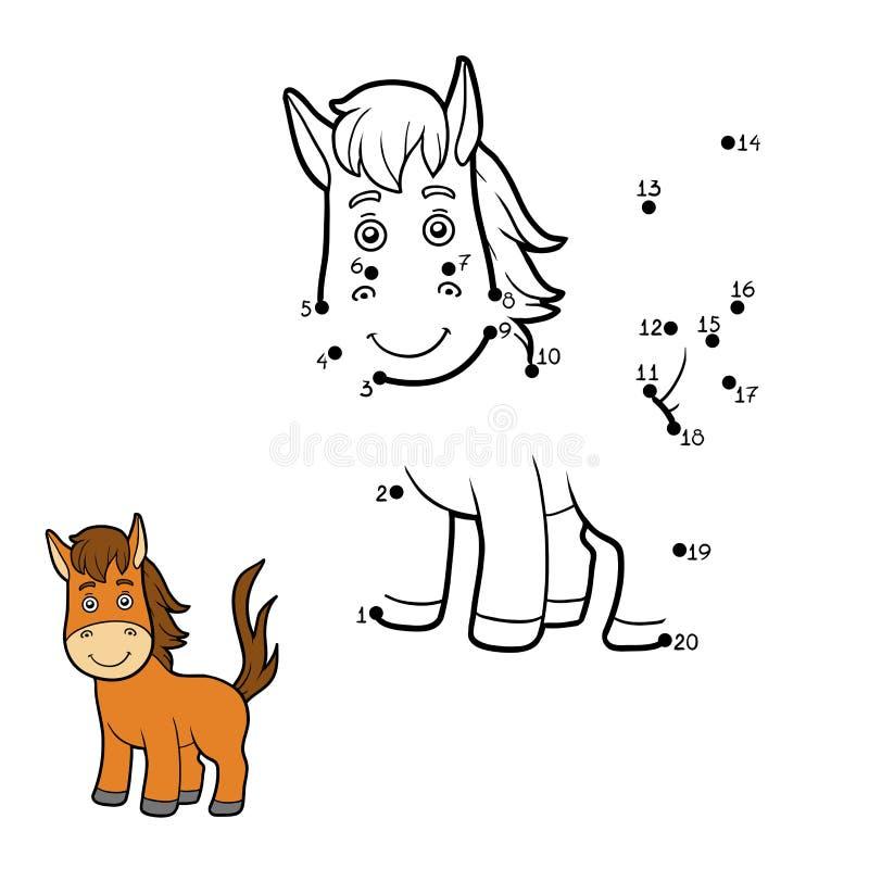 Zahlenspiel, Punkt zu punktieren (Pferd) lizenzfreie abbildung