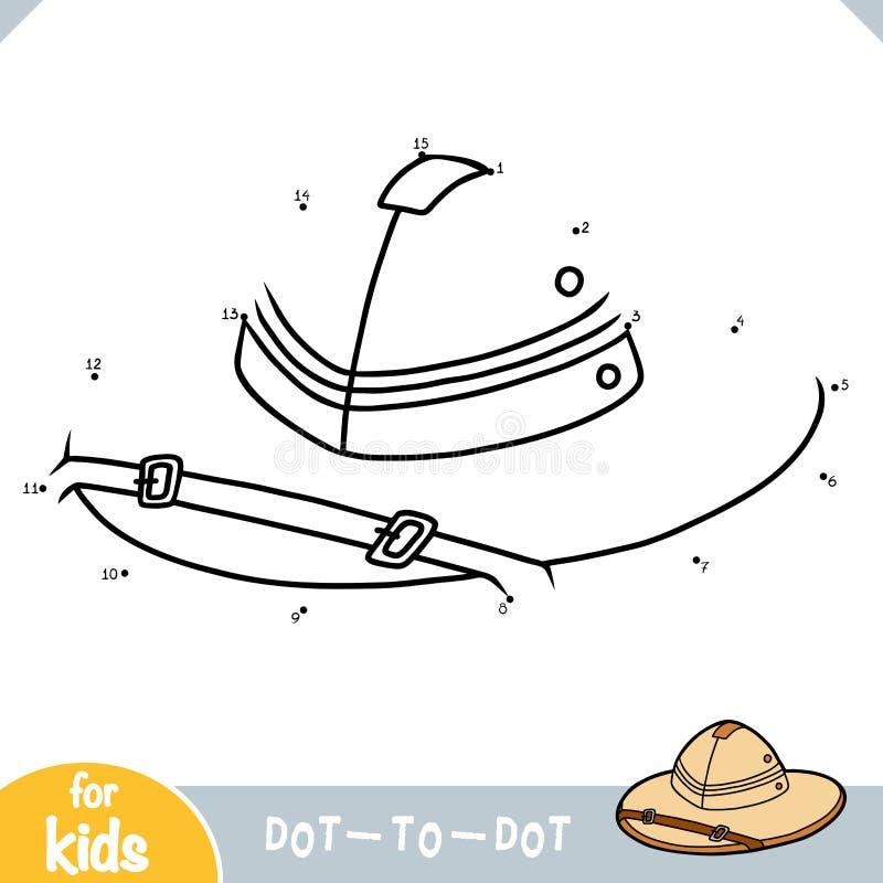 Zahlenspiel, Punkt, zum des Spiels für Kinder, Tropenhelm zu punktieren vektor abbildung