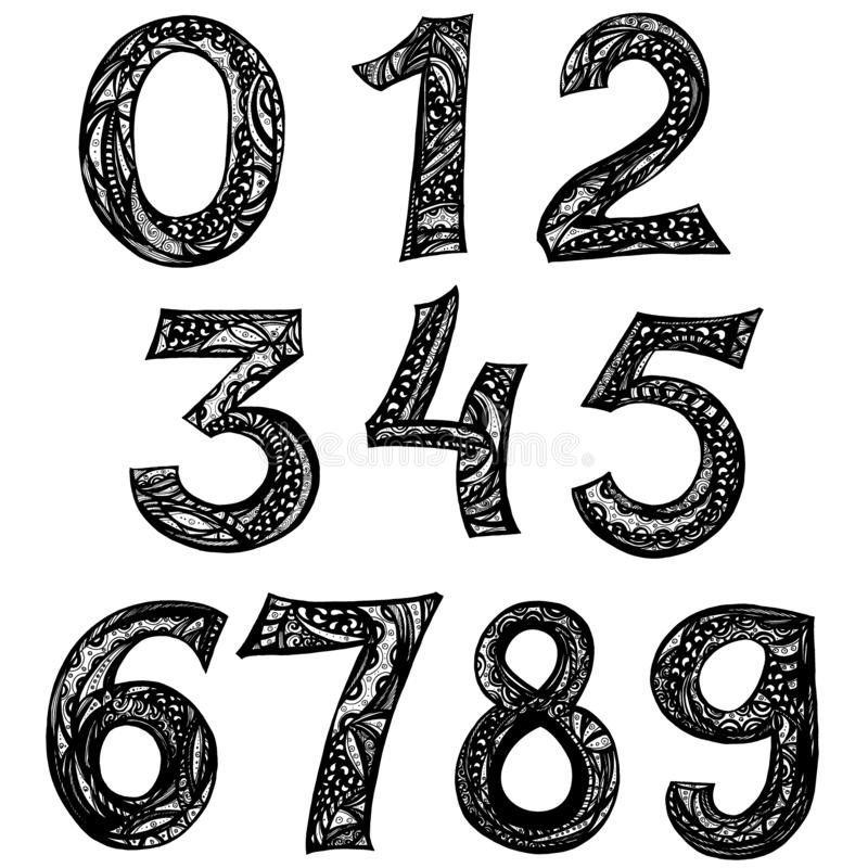 Zahlgekritzel 123 für Ihr Design, Tintenillustration vektor abbildung