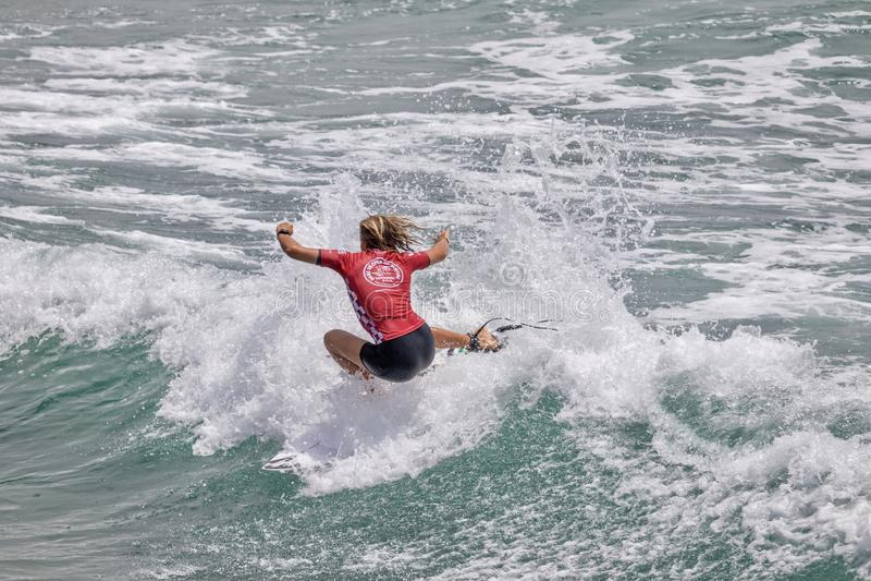 Zahli Kelly w samochodów dostawczych us open surfing 2019 zdjęcie stock
