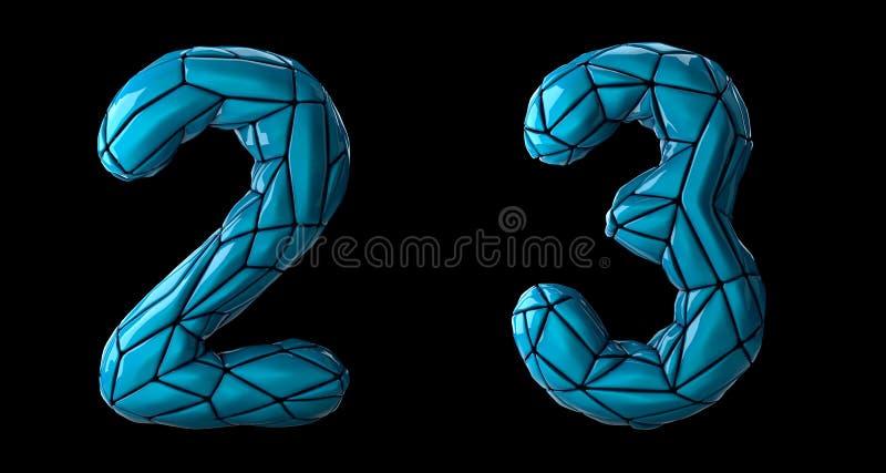 Zahlsatz 2, 3 gemacht vom blauen Farbplastik stock abbildung