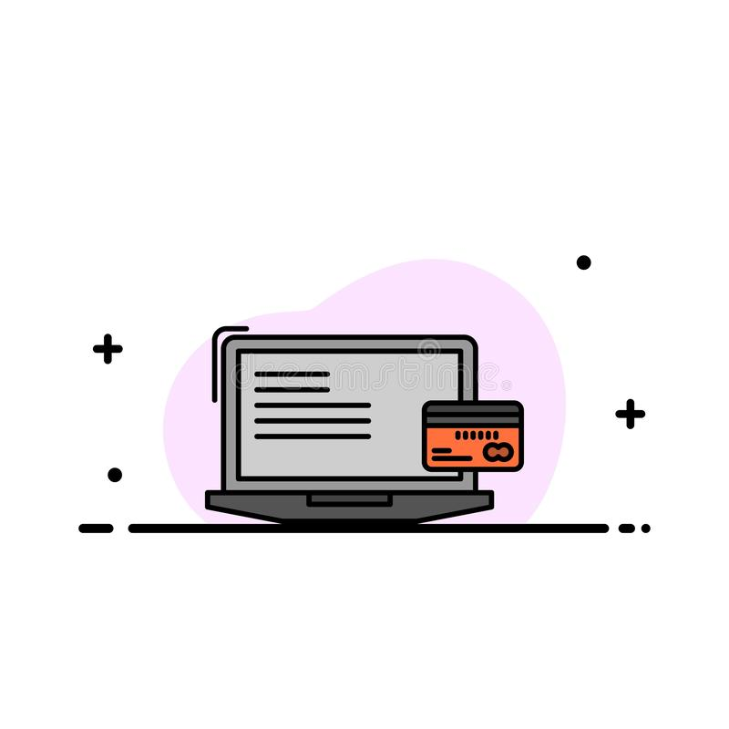 Zahlung, Geschäft, Computer, Kreditkarte, Online-Zahlungs-Geschäfts-flache Linie füllte Ikonen-Vektor-Fahnen-Schablone vektor abbildung