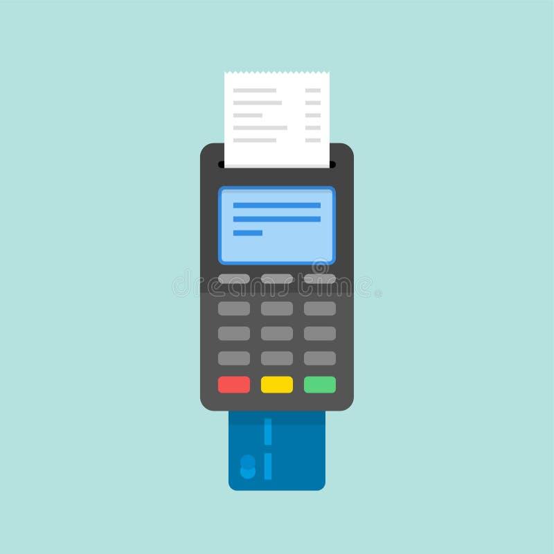 Zahlung mit Kreditkarte unter Verwendung Positions-Anschlusses vektor abbildung