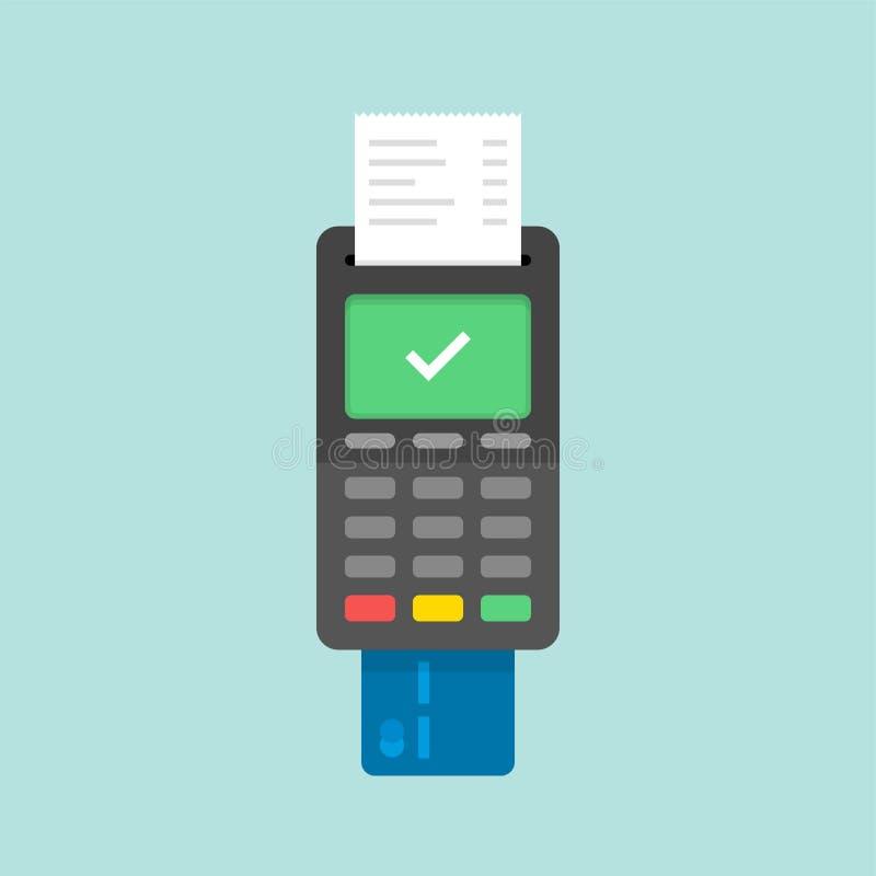 Zahlung mit Kreditkarte unter Verwendung Positions-Anschlusses, anerkannte Zahlung Flache Illustration stock abbildung