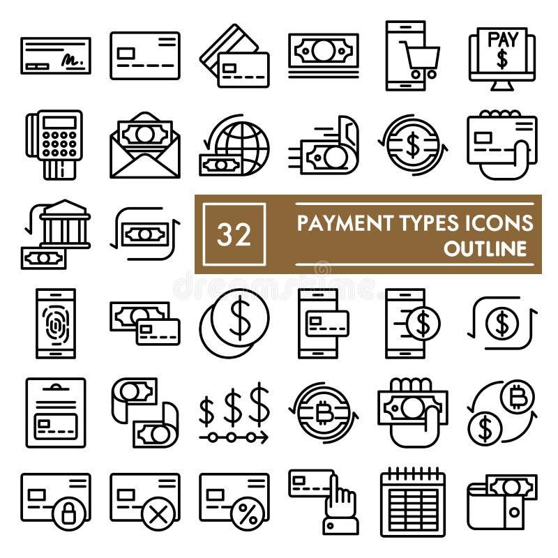 Zahlungsarten zeichnen Ikonensatz, Geldsymbole Sammlung, Vektorskizzen, Logoillustrationen, Finanzzeichenentwurf stock abbildung