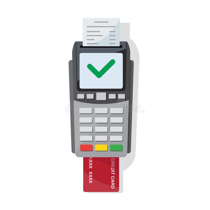 Zahlungsmaschine und Kreditkarteikone in der flachen Art vektor abbildung