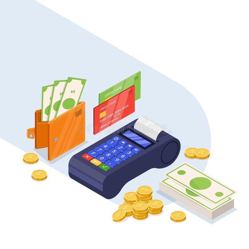 Zahlungsmethoden-Ikonensatz Isometrische Illustration des Geldüberweisungsvektors 3d Kreditkarte, Dollar Bargeld und Bankanschluß lizenzfreie abbildung