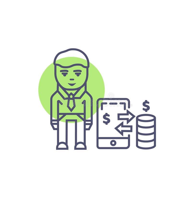Zahlungsvektorzeichen und -symbol der beweglichen Zahlungsikonentechnologie bewegliches vektor abbildung