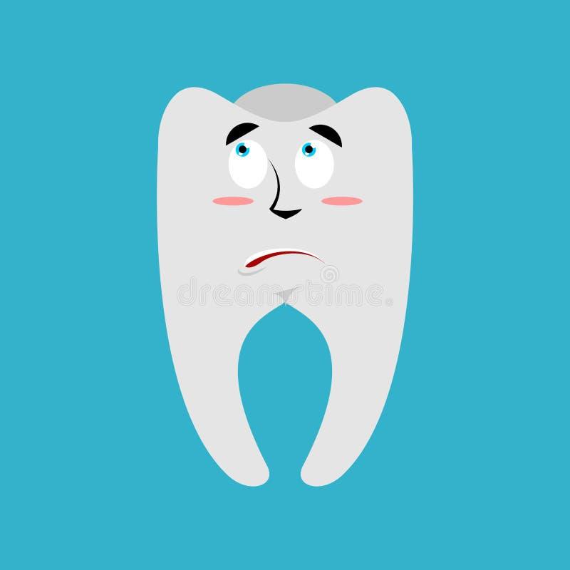 Zahn überraschtes Emoji Zähne erstauntes Gefühl lokalisiert lizenzfreie abbildung