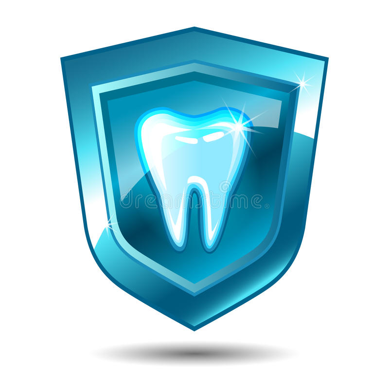 Zahn auf einem blauen Schild lizenzfreie abbildung