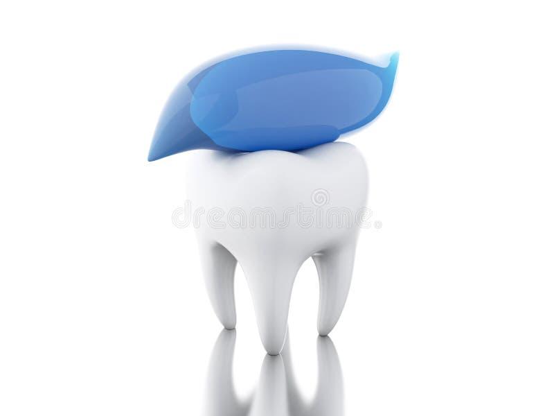 Zahn 3D mit Zahnpasta stock abbildung