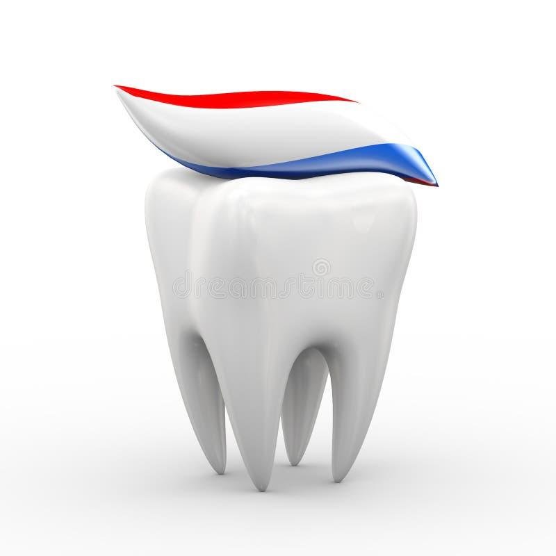 Zahn 3d und Zahnpasta lizenzfreie abbildung