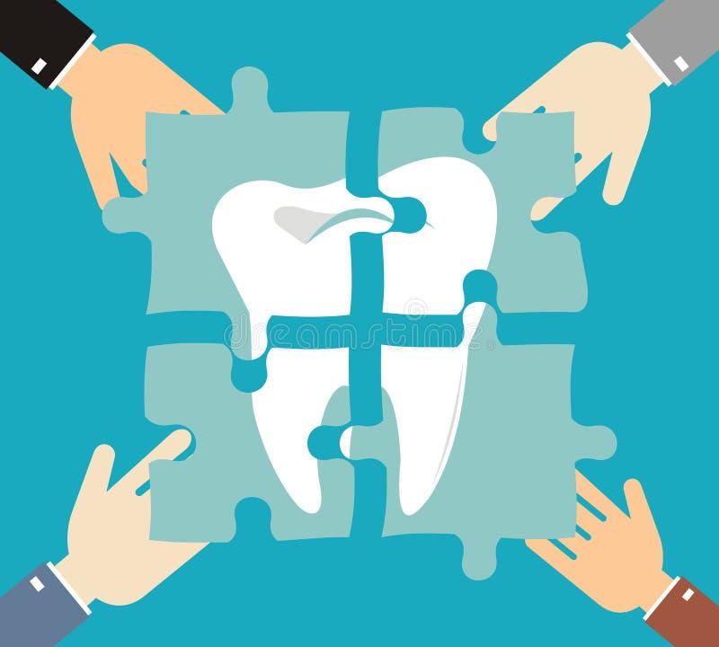 Zahn des Puzzlespiels, Zahnkaries, Behandlungszähne lizenzfreie abbildung