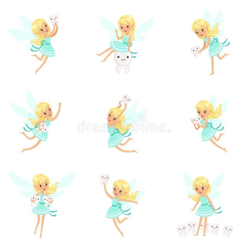 Zahn-Fee, blondes kleines Mädchen im blauen Kleid mit Flügeln und Milchzähne eingestellt von den nette Girly Karikatur-fantastisc lizenzfreie abbildung