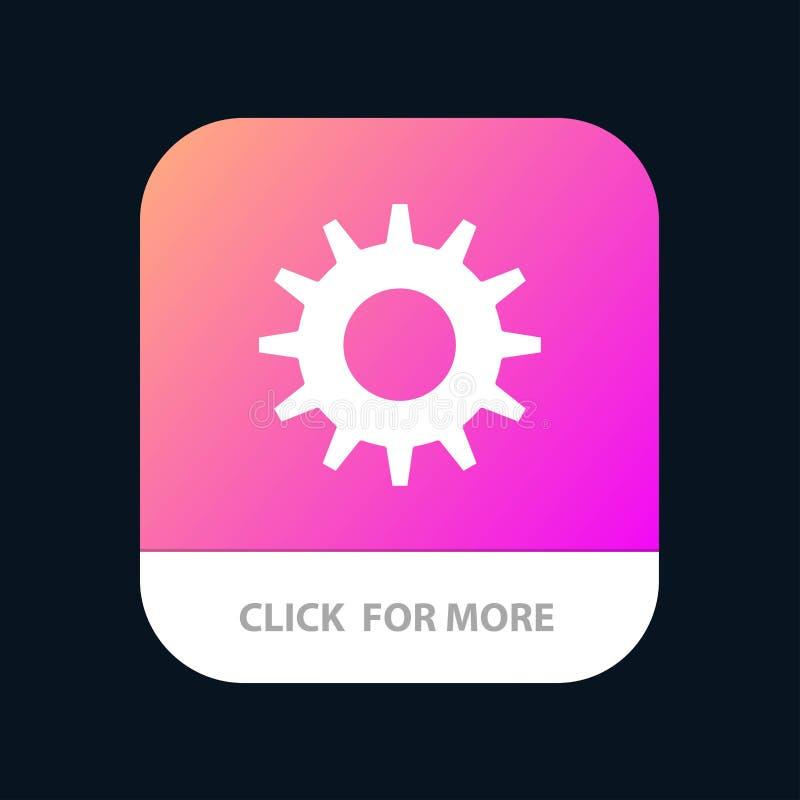 Zahn, Gang, mobilen App-Knopf einstellend Android und IOS-Glyph-Version vektor abbildung