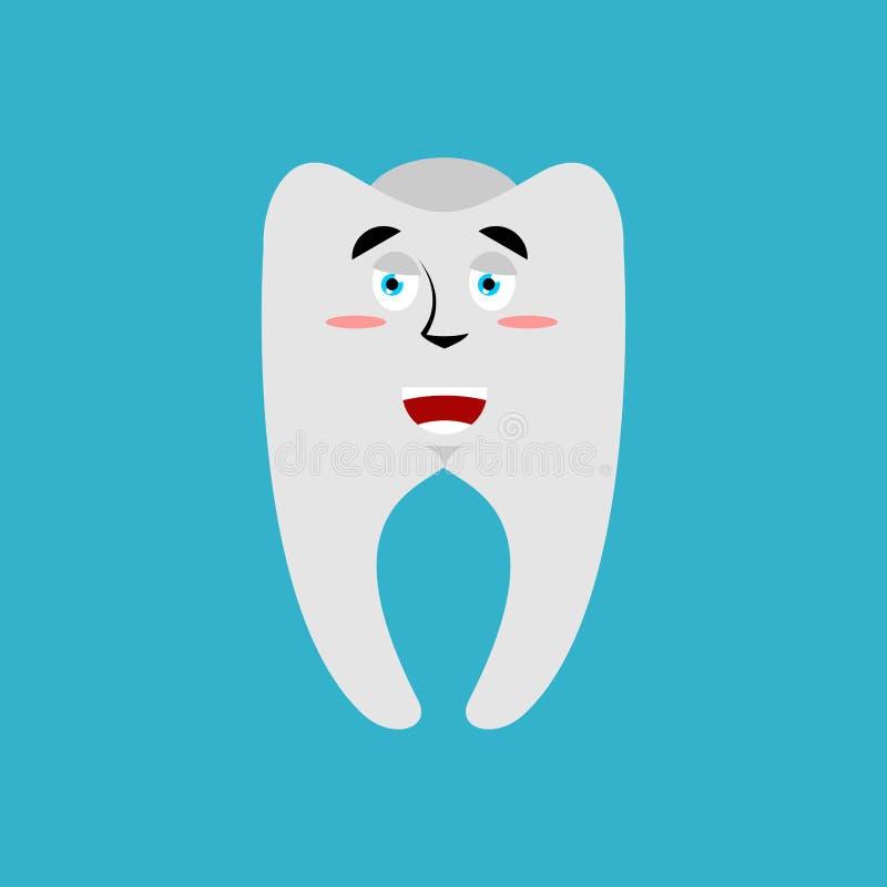 Zahn glückliches Emoji Fröhliches Gefühl der Zähne lokalisiert vektor abbildung