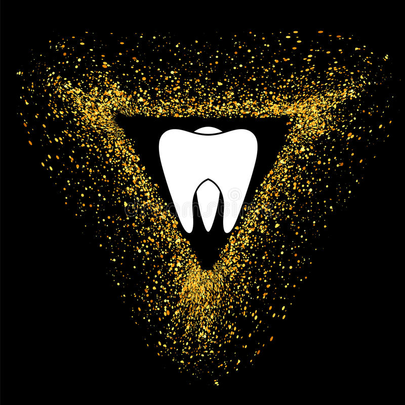 Zahn-Logo auf Gold zerteilt Dreieck-Rahmen lizenzfreies stockfoto