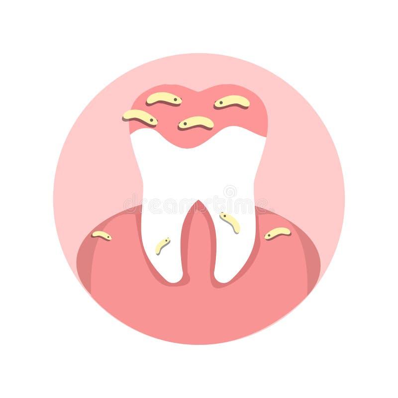 Zahn-Mikroben, Loch-Infektions-flache Illustration lizenzfreie abbildung