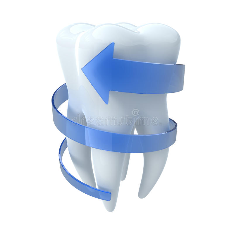 Zahn mit blauem Pfeil vektor abbildung