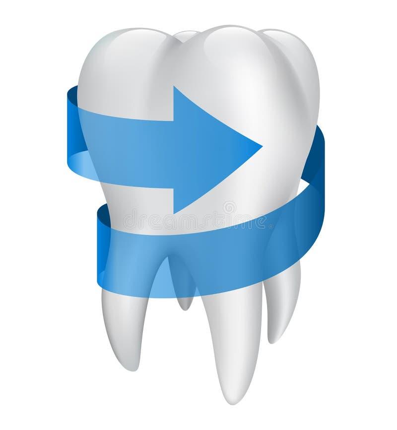 Zahn mit blauem Pfeil. Vektorillustration vektor abbildung