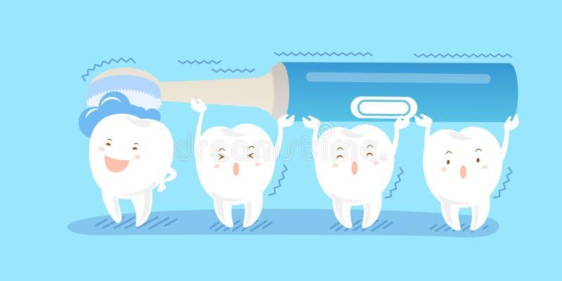 Zahn mit elektrischer Zahnbürste lizenzfreie abbildung