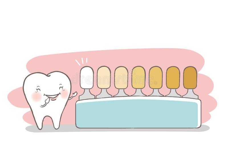 Zahn mit Farbpalette stock abbildung