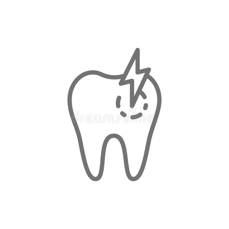 Zahn mit Karies, Zahnschmerzen, kranke zahnmedizinische Linie Ikone lizenzfreie abbildung