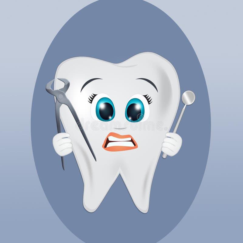 Zahn mit Zahnarzt ` s Werkzeugen vektor abbildung