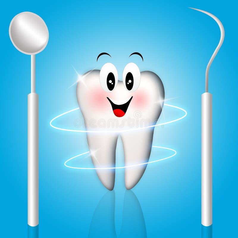 Zahn mit Zahnarztwerkzeugen stock abbildung