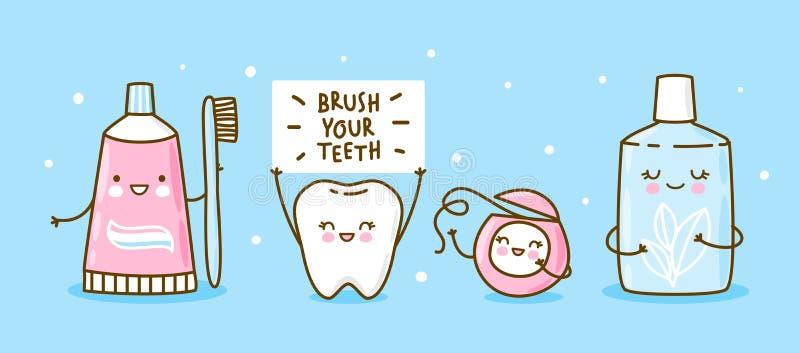 Zahn und Gegenstände für die zahnärztliche Versorgung auf blau - lustige Zahnpasta, Bürste, Zahnseide und Mundwäsche stock abbildung
