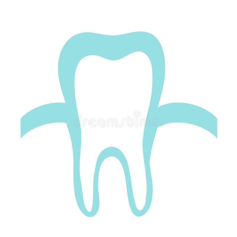 Zahn und Gummi auf einem blauen Hintergrund ikone vektor abbildung