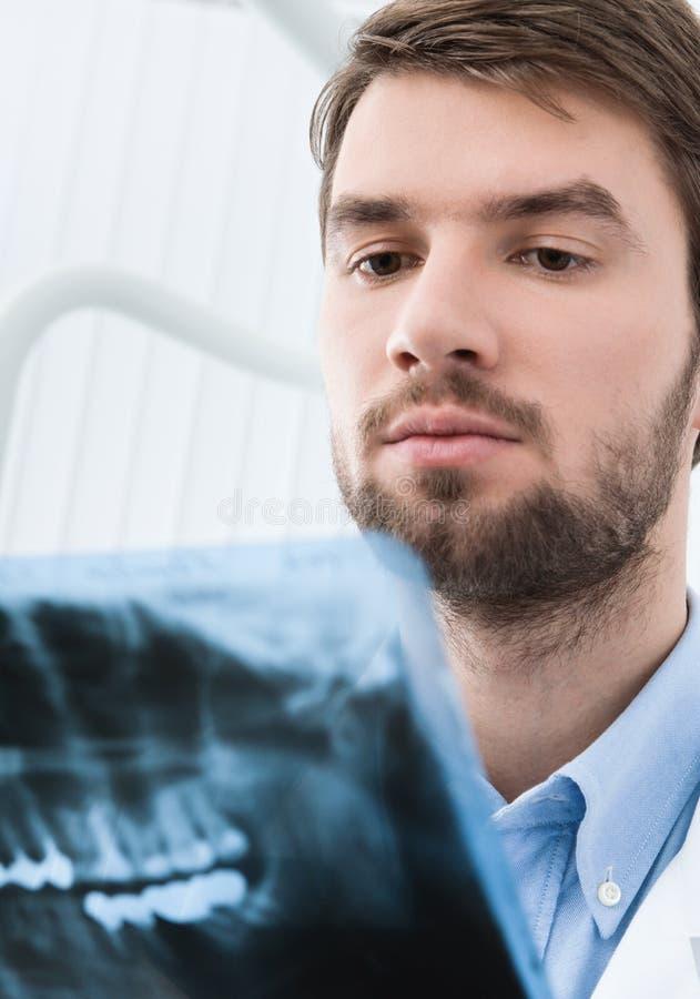 Zahnarzt überprüft das x-Strahlbild lizenzfreie stockfotos